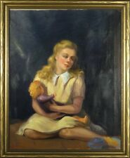 Exquisite ca.1942 Young Girl in Yellow Dress w/Doll Portrait Oil Painting w/Fram