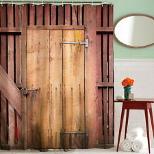 Rustic Old Timber Door Construction Barn Yard Farm Antique Shower Curtain  Set