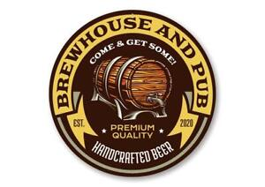 Brew House and Pub Estd. Year Aluminum Sign