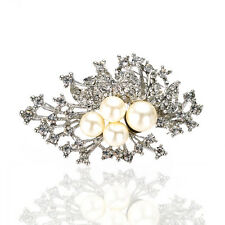 Bouquet Decoration for Wedding Bridal Prom Silver Ivory Pearl Brooch Pin BR363