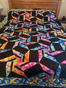 Handmade Full/queen Size Tie Dye Pin Wheel Pattern Quilt