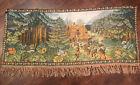 Vintage Loomed Tapestry Snow White 7 Dwarfs German Quality Mushroom Border 25x61