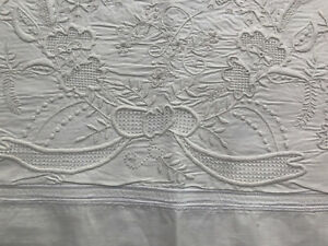 """Antique mono R whitework sham Appenzell embroidery flowers leaves birds 32 x 41"""""""