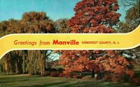 Banner Greetings From Somerset County Manville NJ Vintage C. 1965 Postcard