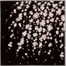 "Japanese Furoshiki Wrapping Cloth Scarf Tapestry 19.75"" Sq Black Cherry Blossom"