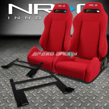 NRG TYPE-R RED RECLINABLE RACING SEATS+LOW MOUNT BRACKET FOR 05-10 CHEVY COBALT
