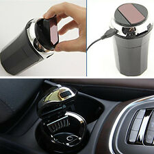 1x Portable Auto Car Cigarette Ashtray with Blue LED Light USB Charger Smokeless