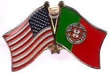 Lot Of 3 Portugal Friendship Flag Lapel Pins - Portugal Crossed Flag Pin