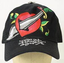 Don Ed Hardy Designs Sword Heart Black Mesh Trucker Hat Baseball Cap Snapback