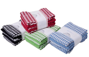100% Cotton Terry Towel 3 Pack Mono Check Tea Towel Large Size Super Absorbent