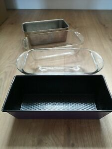 4x Glass Pyrex, Stainless Steel, Loaf Tin Non-Stick Bread Cake Baking Oven Dish