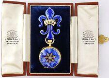 Antique 18K Gold Enamel Hunting Case Lapel Watch & Fleur de Lis Pin Watch Pin