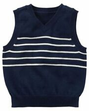 Carter's Boys' Navy Sweater Vest with White Stripes NWT classic layering