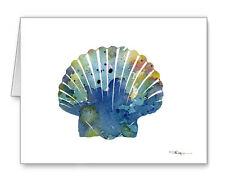 Blue Sea Shell Scallop Note Cards With Envelopes