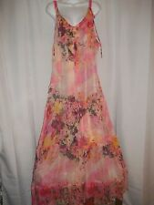 Ladies Size 14 Tricot Chic Chiffon Floral Sheer Watercolor Drappy Dress NWT $556