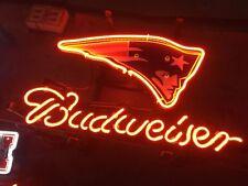 Neon Light Budweiser NewEngland Patriot Football Beer Bar Poster Sign If062
