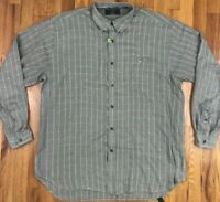 VTG Orvis Men's Yellow Green Plaid L/S Button Down Cotton Shirt Size Large Men's