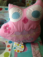 Girls Kids Birdcage Owl Shaped Cushion Filled Novelty Bedroom Cushion