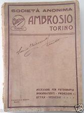 RARO CATALOGO S.A. AMBROSIO CINEMA OTTICA OCCHIALI FOTOGRAFIA 1910 CIRCA TORINO