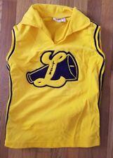 "Vintage Cheerleader Uniform Shell Shirt 70s 80s Navy Gold Size Small ""Lisa"""