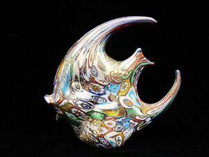 Superb Murano Art Glass Millefiori Gold Leaf Fish Sculpture & Certificate