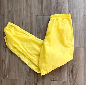 Vintage Men's Nike Sz Large Yellow / Zip Leg / Athletic Nylon Jogger Pants Logo