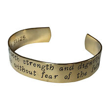 "She Is Clothed With Strength And Dignity And She | Hand Stamped 1/2"" Brass Cuf"