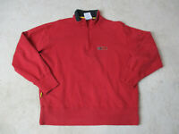 VINTAGE Tommy Hilfiger Sweater Adult Medium Red Blue Spell Out Quarter Zip 90s