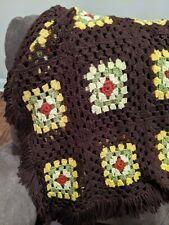 Vintage Handmade Granny Square Crochet Blanket Throw Afghan Fringe 30x48 Brown