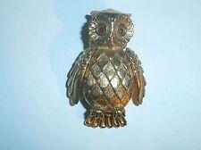 Vintage Owl Brooch/Pin/Pendant Perfume Locket Goldtone Red Eyes Unmarked Good