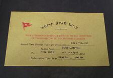 White Star Line, RMS Titanic, Passenger Ticket & Envelope 1912