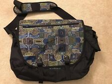 New NWT L.L. Bean Messenger Bag Print Large Reflective Material Blue Black Green