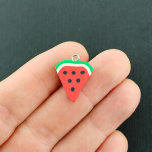 10 Watermelon Slice Charms Polymer Clay Silver Tone Loop Fun and Colorful - E713