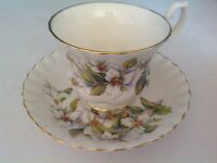 BONE CHINA CUP & SAUCER BY ROYAL ALBERT WHITE FLOWERS GREEN LEAVES PATTERN