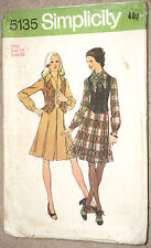 """Vintage Bow Tie Dress Pattern Pleated Skirt Front Zip Open B 36"""" DRESS ONLY"""