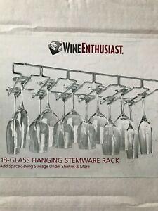 NEW! WINE ENTHUSIAST 18 Wine Glass Rack Stemware Holder Under Cabinet Bar Shelf