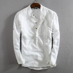 Men's Linen Slim Fit Henley T-shirt Tops Long Sleeve Casual Button Smart Shirts