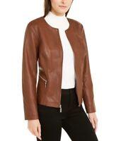 Alfani Women's Full-Zip Faux-Leather Motorcycle Jacket, Brown, Size L, *Defect