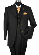 New Men's 3 piece Wool Feel Elegant and Classic Stripes Suit Black 5267