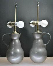 "ANTIQUE CIRCA 1826 RARE ""GERO"" HOLLAND PEWTER PITCHER LAMPS"