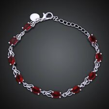 "Women Heart 18K White Gold Plated Red Garnet Gemstones Jewelry Bracelet 7"" Chain"