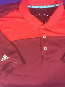 Men's Large Adidas Polo Shirt Climachill Maroon Golf