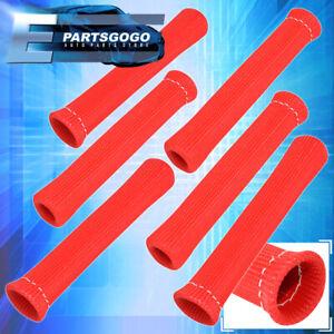 For Benz 6X Slip On Spark Plug Wire Heat Sleeve Insulation Wrap V6 V8 Set Red