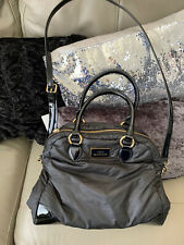 LULU GUINNESS BLACK TOTE MESSENGER QUILTED NYLON LEATHER BAG