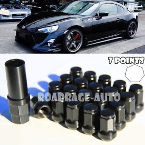 For Subaru Nissan Infiniti 12X1.25mm Wheel Tuner Racing 7Pt BK Lug Nut X20 + Key