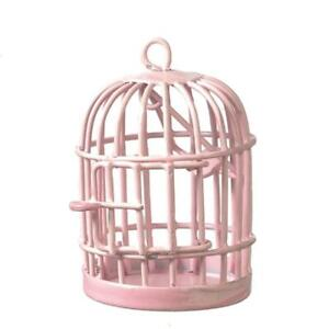Dolls House Round Pink Birdcage Miniature 1:12 Scale Pet Accessory