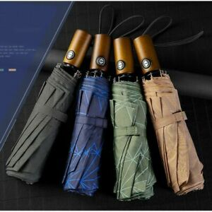 Newest  Compact Large Wind Resistant Umbrella Rain Three Folding Fully-Automatic
