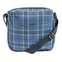 Blue Crossbody Plaid Shoulder Bag Tartan Checked Wool Blend Across Body Bag