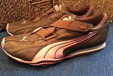 Puma US 7.5 Brown Leather & Pink Athletic Fashion Shoes Sneakers Kicks