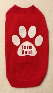"""Red """"Farm Hand"""" Dog Shirt - Country Dog - Zack & Zoey - XL - NEW"""